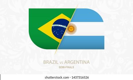 Brazil vs Argentina, Semi-finals of Football competition. Vector illustration.
