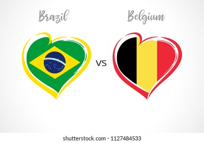 Brazil vs Belgium flags, national team soccer on white background. Brazilian and Belgian national flag in a heart, button vector. Football world championship quarter-final of the competition 2018