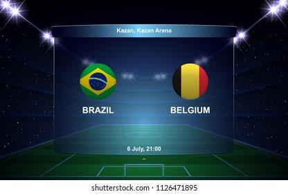Brazil vs Belgium football scoreboard broadcast graphic soccer template