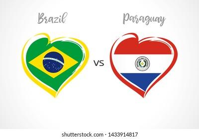Brazil vs Paraguay, national team soccer flags on white background. Brazilian and Paraguayan flag in heart, logo vector.