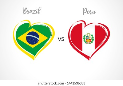 Brazil vs Peru, national team flags on white background. Brazilian and Peruvian flag in heart shape, logo vector. Football championship cup of South America 2019