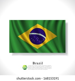 Brazil waving flag isolated against white background, vector illustration