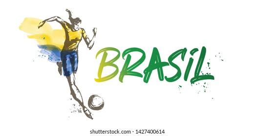 Brazil Women's Soccer National Team Vector Design. Female Player Running. Typographic Layout. Lettering Sport Logo.
