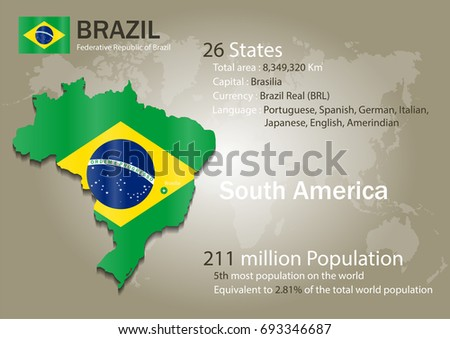 Brazil World Map Country Flag Texture Stock Vector Royalty Free