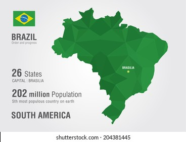 Brazil map images stock photos vectors shutterstock brazil world map with a pixel diamond texture gumiabroncs Images