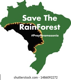 Brazilian Amazon Forest burning  Save the rainforest illegal  deforestation map illustration vector isolated prayforamazonia