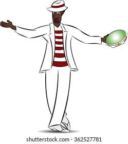 Brazilian black man, Malandro, dancing samba