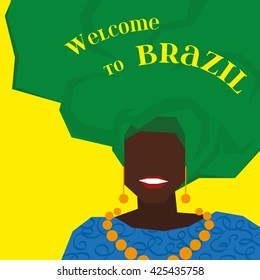 Brazilian black woman in a green turban. Welcome to Brazil. Background for your design. Vector