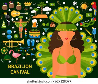 brazilian canival consept background. Flat icons.