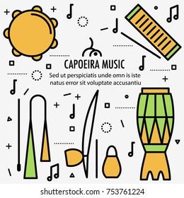 Brazilian Capoeira Music Instruments in color. Ethnic musical instruments for capoeira. Pandeiro and agogo, reco-reco and berimbau, also atadaque. Vector Illustration.