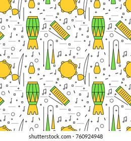 Brazilian Capoeira Music Instruments color seamless pattern. Ethnic musical instruments for capoeira. Pandeiro and agogo, reco-reco and berimbau, also atadaque. Vector Illustration.