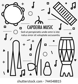Brazilian Capoeira Music Instruments. Ethnic musical instruments for capoeira. Pandeiro and agogo, reco-reco and berimbau, also atadaque. Vector Illustration.