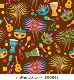 Brazilian carnival background colorful vector. Brazil symbols icons seamless pattern. Guitar drum samba dancer carnival mask confetti texture. Good for cover invitation flyer greeting card design.