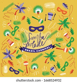 Brazilian Carnival. Big set of vector icon. Design elements.
