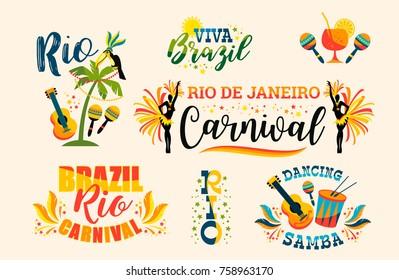 Brazilian Carnival. Big set of vector emblems. Design elements.