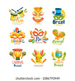Brazilian Carnival logo design set, bright fest.ive party banners vector Illustration on a white background