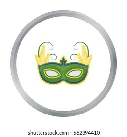 Brazilian carnival mask icon in cartoon style isolated on white background. Brazil country symbol stock vector illustration.
