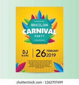 Brazilian carnival party poster with yellow background vector illustration.