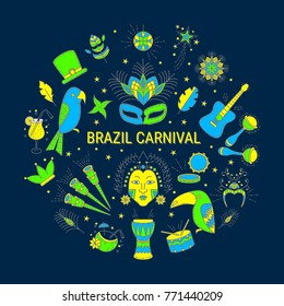 Brazilian Carnival. Round background in modern line art style. Vector icon set