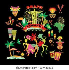 Brazilian Carnival. Vector icon set