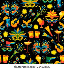 Brazilian Carnival. Vector seamless pattern. Design elements.