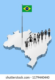 Brazilian citizens voting for Brazil referendum over an 3D map with Flagpole. All the objects, shadows and background are in different layers.