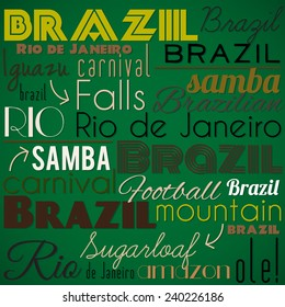 Brazilian creative, decorative background. Vector illustration.