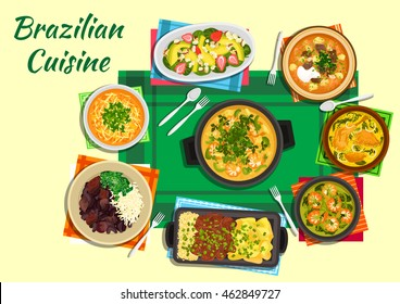 Brazilian cuisine dishes  served with tomato beef and spicy lentil soups, thick shrimp and duck soups with tucupi broth, grilled meat with yuca fries and rice and fruit salad with nuts