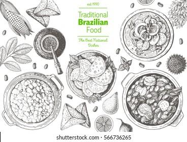 Brazilian cuisine top view frame. Brazilian food menu design with farofa, moqueca, feijoada, meat pastry and mate tea. Vintage hand drawn sketch vector illustration.
