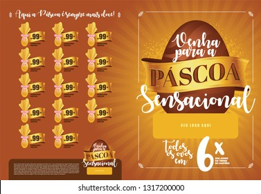 Brazilian Easter Layout. Pascoa Sale Brochure. Text Saying Sensational  Easter and Easter Here is Always Sweeter. Colorful Eggs Composition. Packed Chocolate Eggs. Brazilian Easter Design.