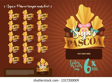 Brazilian Easter Layout. Pascoa Sale Brochure. Text Saying Super Easter and Easter Here is Always Sweeter. Colorful Eggs Composition. Packed Chocolate Eggs. Brazilian Easter Design.
