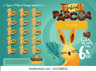 Brazilian Easter Layout. Pascoa Sale Brochure. Text Saying  Easter Festival  and Easter Here is Always Sweeter. Colorful Eggs Composition. Packed Chocolate Eggs. Brazilian Easter Design.