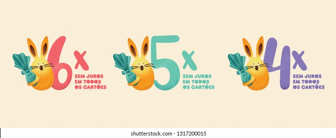 Brazilian Easter Layout. Pascoa Easter Sale Brochure Elements. Text Saying Installment Paying in All Cards. Colorful Eggs Composition. Packed Chocolate Eggs. Brazilian Easter Design.