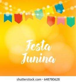 Brazilian Festa Junina greeting card, invitation. Party decoration, string of lights, paper flags. Modern blurred background. Vector illustration.