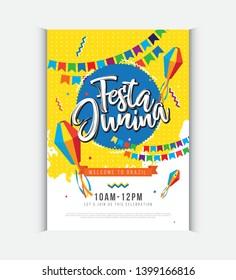 Brazilian Festival Festa Junina Poster Design Layout template A4 Size