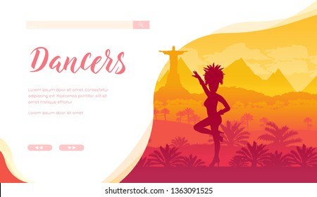 Brazilian festival vector landing page template. Rio De Janeiro carnival web banner design. Samba dancer in traditional costume silhouette. South America traveling, tours website homepage
