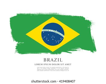 Brazilian flag made in brush stroke background