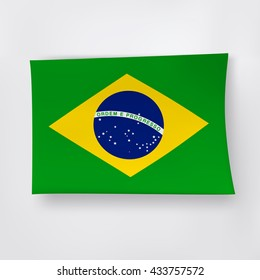 Brazilian flag on the white background.