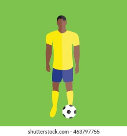 Brazilian football player with a ball on a grass illustration isolated in a green background