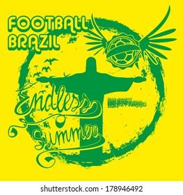 brazilian football retro style vector art