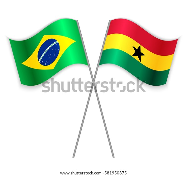 Brazilian and Ghanaian crossed flags. Brazil combined with Ghana isolated on white. Language learning, international business or travel concept.