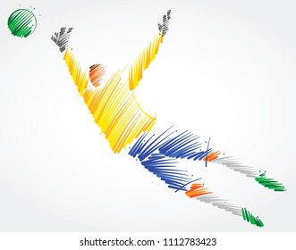 Brazilian goalkeeper trying to catch the ball made of colorful brushstrokes on light background