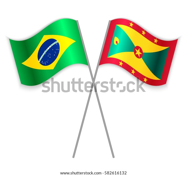 Brazilian and Grenadian crossed flags. Brazil combined with Grenada isolated on white. Language learning, international business or travel concept.
