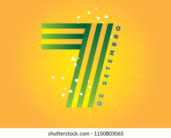 "Brazilian Independence Day Logo saying ""September 7th"". National Holiday in Brazil. Celebration vector illustration."