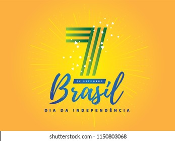 "Brazilian Independence Day Logo saying ""September 7th Brazil Independence Day"". National Holiday in Brazil. Celebration vector illustration."