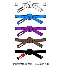 Brazilian Jiu Jitsu adult belts rank system. Vector illustration isolated on white. Bjj white blue purple brown and black belt with stripes. Template for logo posters and other. Osss