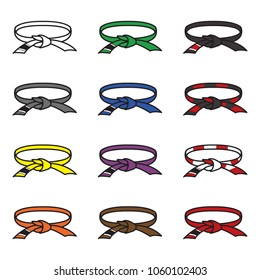 Brazilian jiu jitsu belts icon set. BJJ belts set. Vector.
