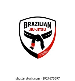 Brazilian jiu jitsu black and red belt logo icon vector illustration design, symbol. Mixed Martial arts academy or school isolated on white Background.