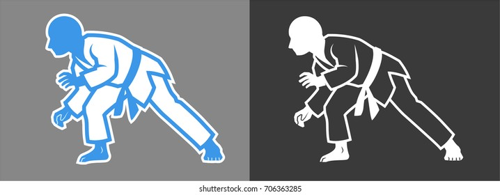Brazilian jiu jitsu, judo or karate martial arts fighters in grappling stance. Gray background on separate layer for easy editing & removal.