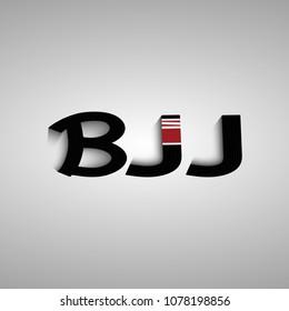 Brazilian Jiu jitsu team logo. T-shirt design. Bjj logotype with adult. Black belts letters. Lettering BJJ. Modern template design copyspace high quality modern design
